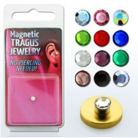 Обманка (фейк) трагус кристалл 3 мм магнит большой цвет золото / разные цвета