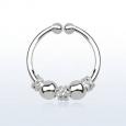 Обманка кольцо серебро 925 пробы с дизайном балийской проволоки с шариками/ 1,0*12