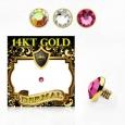 Накрутка 1,6 мм диск с кристаллом 3 мм золото 14 карат (585 проба) / разные цвета