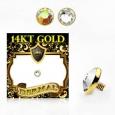 Накрутка 1,6 мм диск с кристаллом 4 мм золото 14 карат (585 проба) / разные цвета