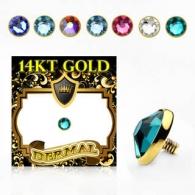 Накрутка 1,6 мм диск с кристаллом 5 мм золото 14 карат (585 проба) / разные цвета