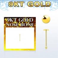 Гвоздик для пирсинга носа 0,6 мм золото 9 карат фигурка плоская 1,5 мм / 0,6*6,5*1,5