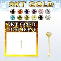 Гвоздик для пирсинга носа 0,6 мм золото 9 карат камень циркон кубический 2 мм / 0,6*6,5*2
