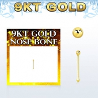 Гвоздик для пирсинга носа 0,6 мм золото 9 карат фигурка шарик 1,5 мм / 0,6*6,5*1,5