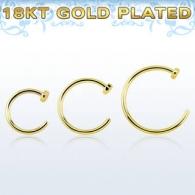 Кольцо в нос покрытие золото 18 карат 0.8 мм / размеры