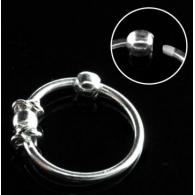 Кольцо 0,8 мм мед.сталь покрытие серебро 925 пробы с декором шарик /0,8*8