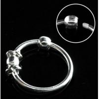 Пирсинг Кольцо 0,8 мм мед.сталь покрытие серебро 925 пробы с декором шарик /0,8*8 производства Thailand_E