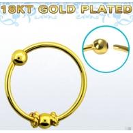 Кольцо 0,8 мм мед.сталь покрытие золото 18 карат с декором шарик малый /0,8*8