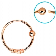 Кольцо 0,8 мм мед.сталь покрытие золото розовое 18 карат с декором  змейка /0,8*8