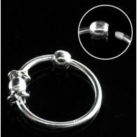 Кольцо 0,8 мм мед.сталь покрытие серебро 925 пробы с декором шарик большой /0,8*8