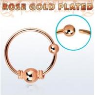 Кольцо 0,8 мм мед.сталь покрытие золото розовое 18 карат с декором шарик большой /0,8*8