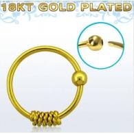 Кольцо 0,8 мм мед.сталь покрытие золото 18 карат с декором спираль /0,8*8