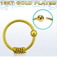 Пирсинг Кольцо 0,8 мм мед.сталь покрытие золото 18 карат с декором спираль /0,8*8 производства Thailand_E