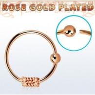 Кольцо 0,8 мм мед.сталь покрытие золото розовое 18 карат с декором спираль  /0,8*8
