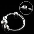 Кольцо 0,8 мм мед.сталь покрытие серебро 925 пробы с декором  шарики/0,8*8