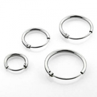 Пирсинг Серьги кольца серебро 925 проба  диаметр 10 мм, пара производства Thailand_E
