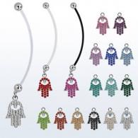 Пирсинг пупка банан для беременных Хамса / разные цвета