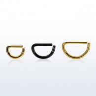 Септум кликер классика D-образное полукольцо 1,2 мм мед. сталь черная / размеры