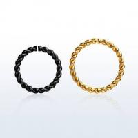 Пирсинг Кольцо 1,2 мм витое мед.сталь PVD покрытие черное /размеры производства Thailand_E