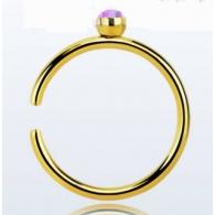 Кольцо 0,8 мм мед.сталь покрытие золото 18 карат с декором опал /0,8*8 / разные цвета