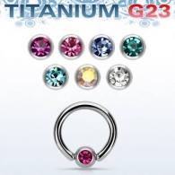 Хард 1,2 мм титан шарик титан с камнем / 1,2*8*3 / разные цвета
