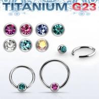 Хард 1,2 мм титан шарик титан с камнем / 1,2*10*4 / разные цвета