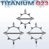 Штанга в сосок 1,6 мм титан шипы / 1,6*14
