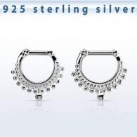 Септум кликер мед. сталь орнамент серебро 925 проба 1,6 мм / размеры