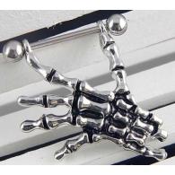 Штанга в сосок 1,6 мм мед. сталь - покрытие родиевое рука скелета / 1,6*14