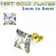 Пусеты (гвоздики) в уши серебро покрытие золото 18 карат квадрат камень циркон 8 мм