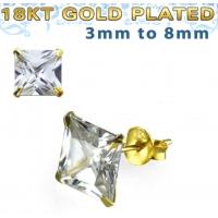 Пирсинг Пусеты (гвоздики) в уши серебро покрытие золото 18 карат квадрат камень циркон 8 мм производства Thailand_E