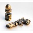 Серьга-фейк пистолет и пуля цвет бронза, комплект