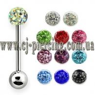 Штанга 1,6 мм мед. сталь - шарик кристалайн 5 мм / разные цвета