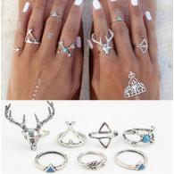 Комплект колец на пальцы и фаланги пальцев Олень белые / 7 штук