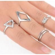 Комплект колец на пальцы и фаланги пальцев Геометрия белые / 5 штук