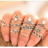 Комплект колец на пальцы и фаланги пальцев Клеопатра Антик серебро / 10 штук фото пирсинг 6