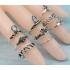 Комплект колец на пальцы и фаланги пальцев Клеопатра Антик серебро / 10 штук фото пирсинг 5