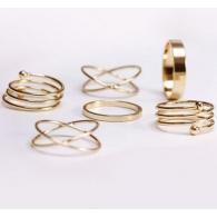 Комплект колец на пальцы и фаланги пальцев Спираль золото / 6 штук