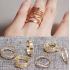 Комплект колец на пальцы и фаланги пальцев Спираль золото / 6 штук фото пирсинг 2