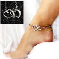 Браслет на ногу Сердечки / цвет серебро