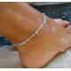 Браслет на ногу бусины бирюза / цвет серебро