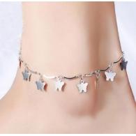 Браслет на ногу Бабочки / цвет серебро