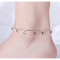 Браслет на ногу Тюльпанчики / цвет серебро