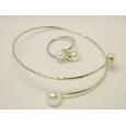 Комплект браслет и кольцо Mise en Dior белый жемчуг / серебро