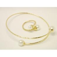 Комплект браслет и кольцо Mise en Dior белый жемчуг / золото
