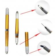Ручка профессиональная манипула для микроблейдинга Трио золото / три цанги