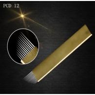 """Иглы для микроблейдинга PCD плоские №12 """"золото"""" пайка диагональ"""