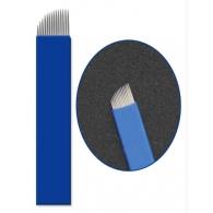 """Иглы для микроблейдинга плоские №14 """"синие"""" пайка диагональ"""