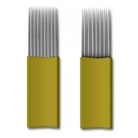 Иглы для микроблейдинга плоские №17 желтый пайка ровная два ряда