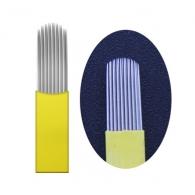 Иглы для микроблейдинга плоские №17 желтый пайка U формы два ряда
